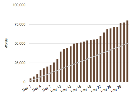 NaNoWriMo 2013 graph
