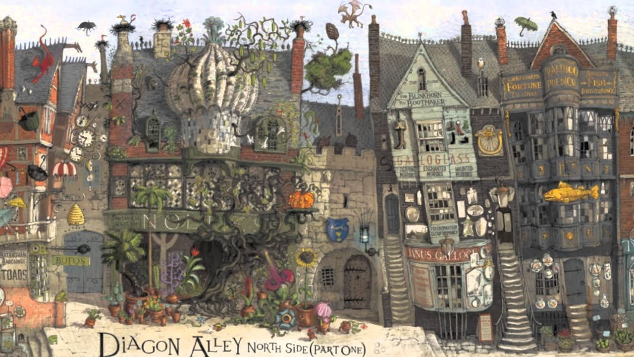 Jim Kay Diagon Alley illustration